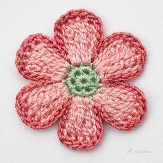 Crochet Flower nr free pattern by Anabelia Craft Design Crochet Flower Headbands, Crochet Flower Tutorial, Knitted Flowers, Crochet Star Patterns, Crochet Motif, Small Crochet Gifts, Beginner Crochet Projects, Easter Crochet, Flower Crafts