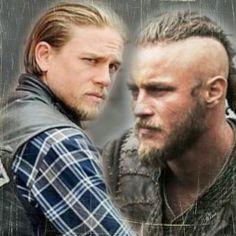 Charlie Hunnam aka Jax Teller on Sons of Anarchy  (left) Travis Fimmel aka Ragnar Lothbrok on Vikings (right)