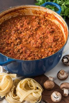 italian recipes A large dutch oven of the best bolognese sauce recipe ever made with beef, pork, pancetta, and mushrooms. Meat Sauce Recipes, Beef Recipes, Cooking Recipes, Best Pasta Sauce Recipe, Drink Recipes, Tomato Sauce Recipe, Beste Bolognese Sauce, Dutch Oven Recipes, Italian Dishes