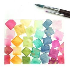 I've never been very good at Tetris.❤️🧡💛💚💙💜 This is from part of a Skillshare class my husband and I started but only made it through one… Step By Step Watercolor, Easy Watercolor, Watercolour Tutorials, Watercolor Techniques, Watercolor Flowers, Make It Through, Step By Step Instructions, Rainbow Colors, Husband