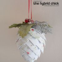 Make this pinecone ornament- use paper or fabric.  Directhttp://www.thehybridchick.com/2010/11/paper-pinecone-ornament/ions @