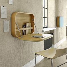A wall mounted desk is a great space-saving solution to your home office problem. Available in every size, shape and form they are stylish and functional. Folding Furniture, Space Saving Furniture, Office Furniture, Home Furniture, Office Decor, Home Office, Simple Furniture, Cheap Furniture, Wall Mounted Desk Folding