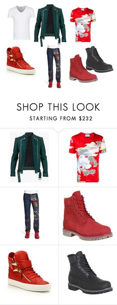 """Round the way guy"" by slsstyles ❤ liked on Polyvore featuring Balmain, Gucci, Robin's Jean, Timberland, Giuseppe Zanotti, mens, men, men's wear, mens wear and male"