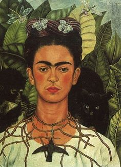 Frida Kahlo ~ Self portrait with cat and monkey