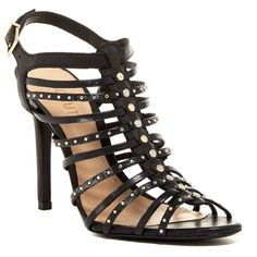 Schutz Studded Cage Stiletto Sandal ($99) ❤ liked on Polyvore featuring shoes, sandals, black, slingback sandals, black high heel sandals, black strappy sandals, black strap sandals and strappy leather sandals