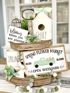 Spring signs / Easter signs / tiered tray decor/tiered tray signs/Rae Dunn decor/small signs/coffee bar/kitchen decor/ spring decor These cute little signs are a perfect accent for your Rae Dunn/Easter and spring decor. It includes both signs They measure ABOUT Bloom 4.5x3.5inches Truck 6x10 These Coffee Bar Signs, Tray Styling, Wood Block Crafts, Wood Projects, Tiered Stand, Kitchen Decor, Bar Kitchen, Spring Sign, Tray Decor