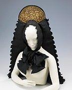 Headdress Metal, Silk, Cotton, Glass, Pearls ca 1900