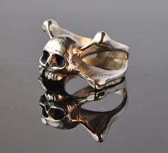 Oxidised Skull and Crossbones Silver Ring by Thenineofhearts on Etsy