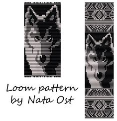 Beading Loom Pattern Bracelet Wolf Seed Bead Cuff by NataOst Native Beading Patterns, Seed Bead Patterns, Beaded Jewelry Patterns, Peyote Patterns, Bead Jewelry, Crochet Patterns, Native Beadwork, Weaving Patterns, Stitch Patterns