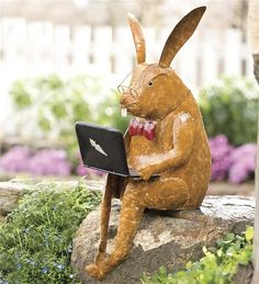 Main image for Recycled Metal Laptop Rabbit Yard And Garden Sculpture