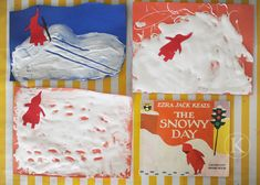 The Snowy Day by Ezra Jack Keats art activity: Make tracks in puffy paint (equal parts shaving cream and glue) and add small red figure cutout. On a snowy day, I like to. Preschool Literacy, Kindergarten Art, Preschool Activities, Preschool Winter, Preschool Books, Winter Thema, Snow Theme, Snow Activities, E Mc2