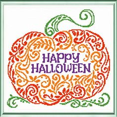 Happy Pumpkin - cross stitch pattern designed by Ursula Michael. Category: Halloween.