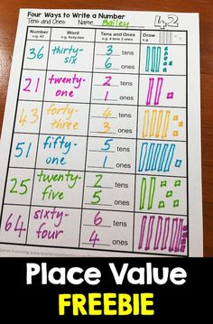 Place Value Freebie - Ways to make a number for tens and ones numbers.