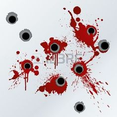 bullet hole: Vector illustration of bloody gunshots with blood splatters on the wall.