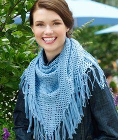 Rose Filet Triangle Scarf/Shawl - Free Crochet Pattern - (redheart)
