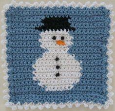 #363 Snowman Block Dishcloth – Maggie Weldon Maggies Crochet