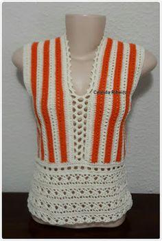 Celeida Ribeiro: Blusa de crochê! Crochet Shirt, Crochet Cardigan, Diy Crochet, Crochet Top, Crochet Poncho Patterns, Knitting Patterns, Crochet Woman, Crochet Fashion, Crochet Clothes