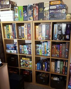 We've had to reorganise our collection. We use the kallax shelves from ikea! We best grab another soon.  #ikea #boardgames #boardgamecollection #boardgamegeek #happy #showusyourshelf