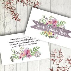 Custom business card watercolor floral modern by RowanTreePrints