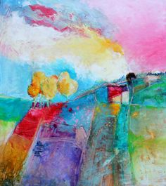Abstract Landscape Colorful Painting by kerriblackmanfineart, $125.00