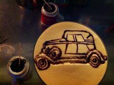 Latte art old car