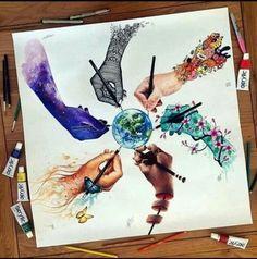 By elia_pelle dinotomic jojoesart scandy_girl vexx_art pavneetsembhi Amazing Drawings, Beautiful Drawings, Cool Drawings, Unique Drawings, Amazing Artwork, Colorful Drawings, Beautiful Artwork, Cool Artwork, Arte Inspo