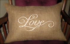 LOVE Burlap Pillow Cover - 12x18- Shabby chic, french country home decor- Rustic woodland Summer, Barn, Farm wedding decor
