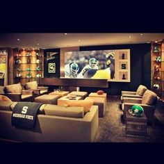 Basement sports room ideas home theatre with sports theme basement man cave Man Cave Bar, Man Cave Room, Man Cave Basement, Man Cave Garage, Basement Bathroom, Basement Pool, Basement Office, Basement House, Bathroom Spa