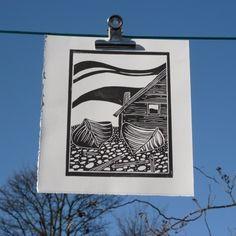 "lino cut print ""Fishing boats and hut on Faro"" £20"