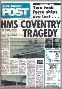 May 25, 1982: HMS Coventry sunk by Argentine aircraft, killing 19. Twelve killed in missile attack on British Merchant Navy vessel Atlantic Conveyor.