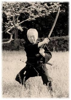 Dr.  Masaaki Hatsumi demonstrates a proper swordhand block :)