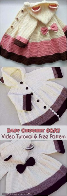 Easy Crochet Coat Video Tutorial and Free Instructions - Easy Crochet Coat V .- Easy Crochet Coat Video Tutorial and Free Instructions – Easy Crochet Coat Video Tutorial and Free Instructions Your crochet Crochet Baby Sweaters, Crochet Coat, Crochet Baby Clothes, Knitting Sweaters, Crochet Shawl, Crochet Baby Dresses, Knitting Humor, Knitted Baby, Crochet Cardigan