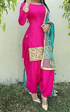Hot pink Punjabi salwar suit with golden handwork on border and dupatta makes it perfect Punjabi salwar suit for party