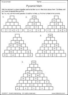 Pyramid Math Worksheet Answers - Education World Work Sheet Library Pyramid Math Education World Math Pyramid Worksheet Volume Of A Pyramid Worksheets Mathvine Com Maths Pyramids For . Education World, Education Quotes For Teachers, Education English, Elementary Education, Math Education, Teacher Humor, Math Worksheets, Math Games, Educational Technology