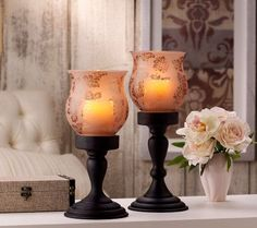 Home Reflections Set/2 Etched Pedestals with Candles & Timer — QVC.com