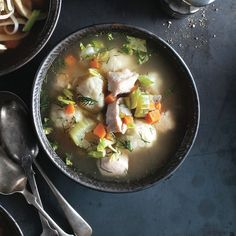 Dill and dumplings add depth and texture to this iconic chicken soup recipe. Get this recipe and more at Chatelaine.com.
