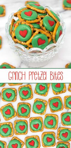 Grinch Pretzel Bites – crunchy pretzel snaps, festive green chocolate wafers, and a delightful red heart quin; a sweet and salty holiday treat that even a Grinch will love. via treats Grinch Pretzel Bites Grinch Christmas Party, Christmas Snacks, Christmas Cooking, Christmas Goodies, Christmas Candy, Holiday Treats, Holiday Recipes, Christmas Holidays, Christmas Recipes