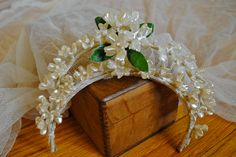 Vintage - Antique Bridal Veil with Wax Orange Blossom Tiara - Netting - Lace - Wedding Floral - Headpiece