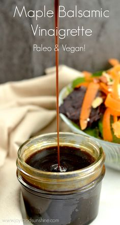 5 minutes & 5 ingredients results in the tastiest dressing you've ever made! Perfect healthy choice for your salad! Pin this clean eating recipe to make later. Balsamic Vinaigrette Recipe, Salad With Balsamic Dressing, Balsamic Syrup Recipe, Honey Balsamic Vinaigrette, Paleo Sauces, Paleo Recipes, Cooking Recipes, Paleo Food, Snack Recipes