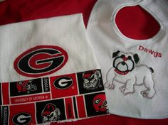 Georgia Bulldogs Burp Cloth and Bib Set by SassyStitchesbyLudy, $15.00