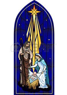 Vector illustration de la Sainte Famille de la nativit la naissance de J sus a cr en vitrail Banque d'images