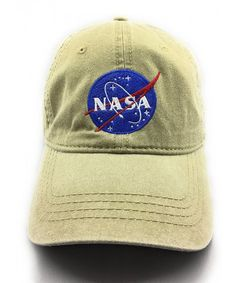 e077afce66d NASA MEATBALL LOGO EMBROIDERED WASHED SPACE DAD CAP Khaki CB1856UTITD