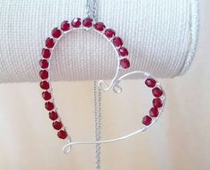 Crystal wire wrapped heart necklace