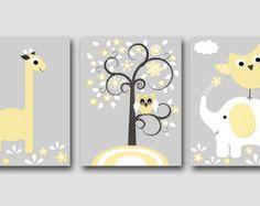 Kinder Wand Kunst Giraffe Kinderzimmer Elefant Kinderzimmer Owl Kinderzimmer Baby Kinderzimmer Kunst Print Kinder Wand Kunst Baby Raum Dekor-Satz von 3 Baum grau /