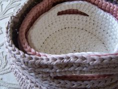 "Free pattern for these cute ""Baskets"" by Anna Simple Crochet!"
