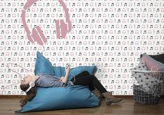 Mural muziek met microfoon en koptelefoon | wallpaper | behang | Tinkle&Cherry | www.tinklecherry.nl