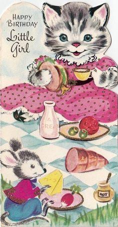 Happy Birthday Little Girl Vintage Birthday Cards, Kids Birthday Cards, Cat Birthday, Vintage Greeting Cards, Vintage Ephemera, Vintage Postcards, Happy Birthday Little Girl, Gatos Cats, Old Cards