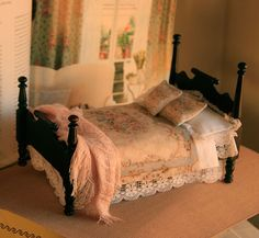 Colonial Australian Dressed Bed for Dollhouse Made by ArgusMinis