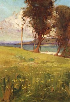 Landscape Painting by Australian Artist Sydney Long - The blue sky balances out the expanse of green grass. The diagonal that the trees are placed at balances the slope of the ground. Australian Painters, Australian Artists, Figure Painting, Painting & Drawing, Landscape Art, Landscape Paintings, Aboriginal Art, Art Techniques, Painting Inspiration