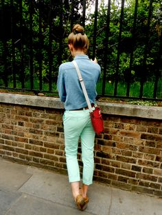 bun with a bow, cath kidston, denim, mint pants.